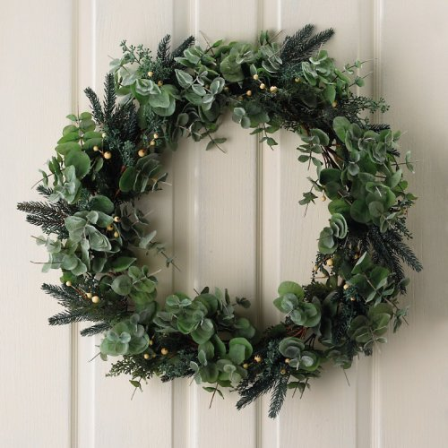 Simple eucalyptus and white berry wreath from the white company 163 60