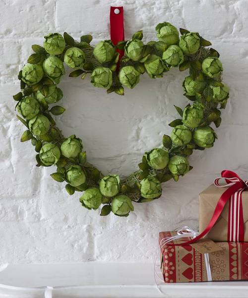heart shaped brussel sprout wreath
