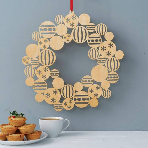 wooden bauble wreath