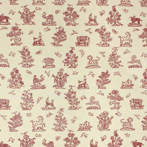 Beasties red on beige linen