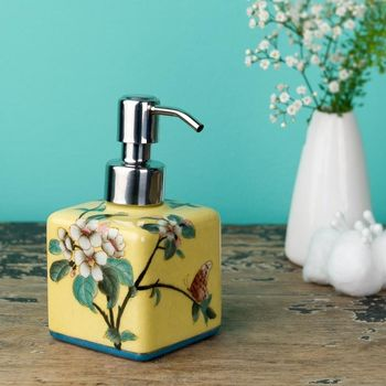 Not On The High Street, Square Hand Painted Soap Dispenser