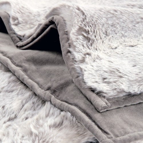 Feather and Black - Silver Faux Fur Throw
