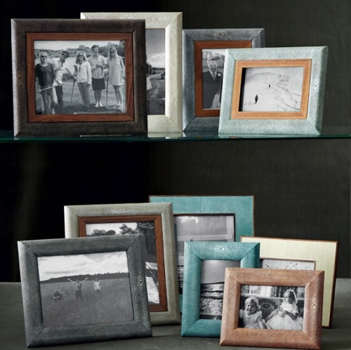 Faux Shagreen Photo Frames with Curved Edges from Oka